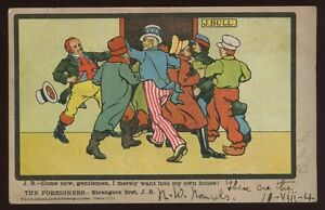 Political-JOHN-BULL-Strangers-First-1904-Satire-Comic-PPC-Free-Trade