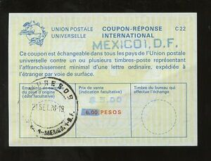 MEXICO-1978-REPLY-PAID-COUPON-UPU-IRC-6-PESOS-REVALUED-5-COUNTRY-HANDSTAMP