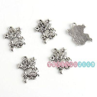 Wholesale 50pcs Lots Tibet Silver Cat Charms Pendants 17x13mm 140410 Free Ship