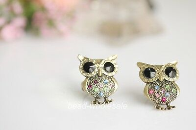 Fashion Adjustable Crystal Rhinestone Lovely Owl Ring !! 5color to choose