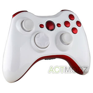Glossy-White-Shell-With-Glossy-Passion-Red-Buttons-For-Xbox-360-Controller-Shell