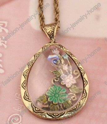 1PC Retro Bronze Clear Crystal Fashion Drip Flower Pendant Necklace