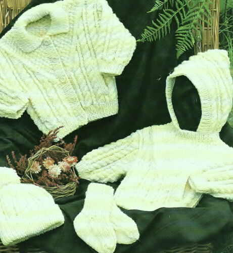KNITTING PATTERNS PREMATURE BABY GIRL BOY SWEATER COAT CARDIGAN HAT MITTS V3