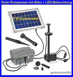 5 w solar pumpenset mit akku led beleuchtung solarpumpe. Black Bedroom Furniture Sets. Home Design Ideas