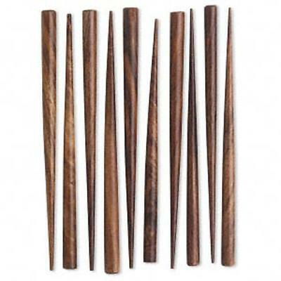 wholesale lot 10 hand carved  hair sticks end drilled, brown