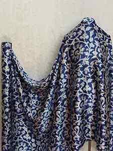 100% Silk Charmeuse Stretch Fabric Vintage Navy Blue S006 Per Yard