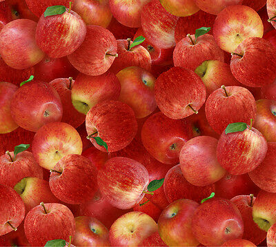 Fat Quarter Red Apples Harvest Quilts 100% Cotton Quilting Fabric