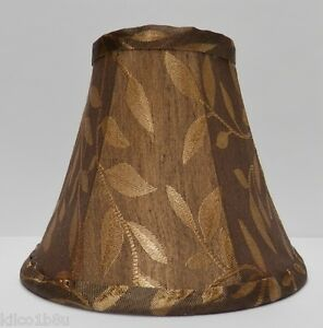Bronze Brown W Gold Leaves Fabric Chandelier Lamp Shade