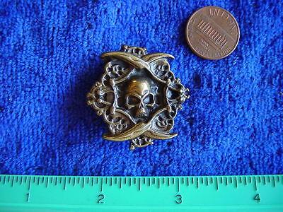 Antique brass plate pirate skull rivet concho belt finding larp leather craft