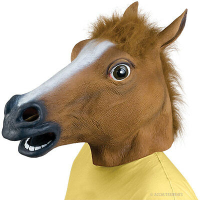 New Horse Head Mask Creepy Halloween Costume Theater Prop Latex Rubber Novelty