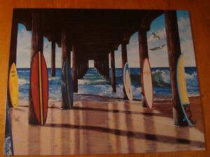 SURFBOARDS ON BEACH OCEAN PIER DOCK WAVES SEAGULL Surfer Surfing Sign Home Decor