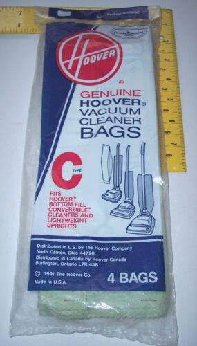 4 Pk. Genuine Hoover Bottom Fill & Lightweight Uprights Type C vacuum vac bags