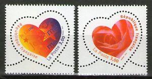 TIMBRE-3218-3219-NEUF-XX-LUXE-COEURS-DE-LA-SAINT-VALENTIN