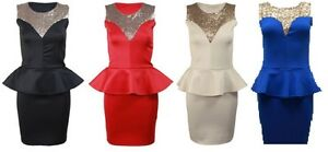 NEW-WOMENS-LADIES-FRONT-GOLD-SEQUINS-SLEEVELESS-FRILL-PEPLUM-BODYCON-PARTYDRESS