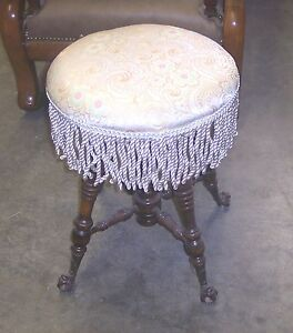 Mahogany-Organ-Stool-Piano-Stool-cream-broccatelle-ST6