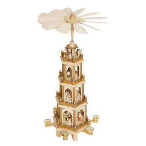 Christmas Pyramid 24 Inches Nativity Play 4 Tier Carousel with 6 ...