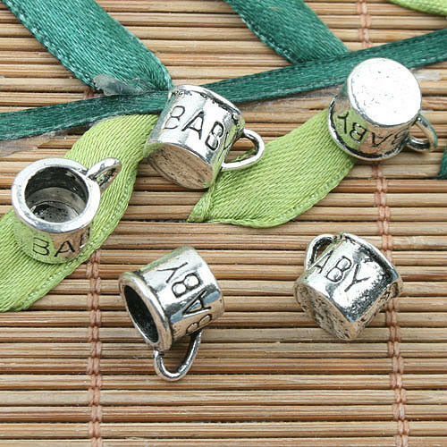 Alloy metal Tibetan Silver color BABY cup  design charms 30pcs EF0066