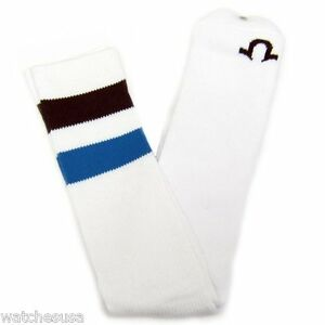 True Religion Men's Athletic Tube Sock Brown / Blue Striped Sock Size10-13