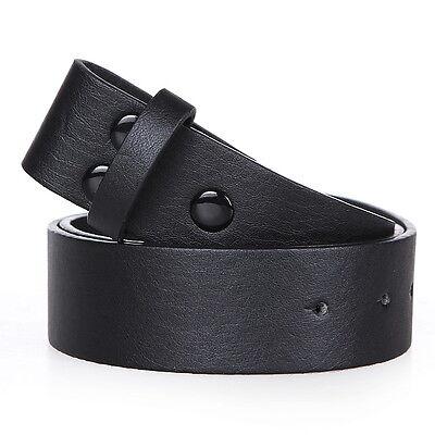 Mens Womens Snap On Faux Leather Black Belt PVC/VINYL UK Seller