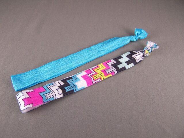 Aqua zigzag set pack of 2 Kids Girls stretch elastic headband childrens