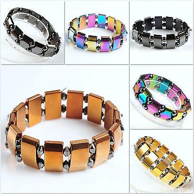 Metallic gold copper AB rainbow black hematite energy gemstone beads bracelet