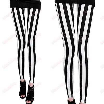 Womens Grils Retro Black White Stripe Lolita Tights Printed Leggings Gothic Pant