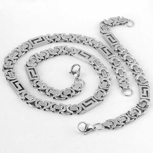 1-Set-Cool-Men-039-s-Stainless-Steel-Connect-Link-Chain-Necklace-Bracelet-Rock-Punk