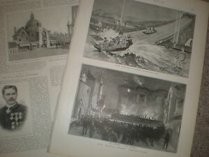 London-Earl-039-s-Court-exhibitions-Water-show-and-Old-Paris-1893-prints-amp-article