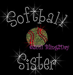 Softball-Sister-C-Rhinestone-Iron-on-Transfer-Hot-Fix-Bling-Sports-School