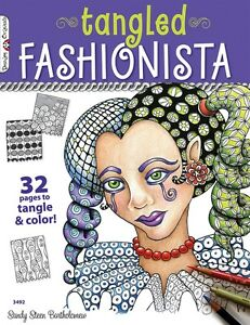 TANGLED-FASHIONISTA-Zentangle-Line-Drawing-Altered-Art-Cards-Paper-Craft-Book