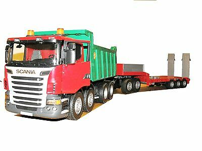 Bruder 03550 Scania Kipper mit Dolly + Tieflader Bworld + Light uSound f. Bagger