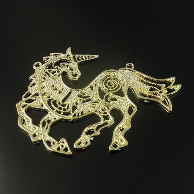 Matte Gold Tone Hollow Unicorn Alloy Charm Pendant 85*64mm 4pcs