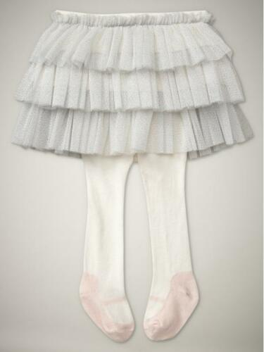 NWT Baby Gap Silver Tulle Tutu Skirt Attached Pink Mary Jane Tights 3 6 12 18 24