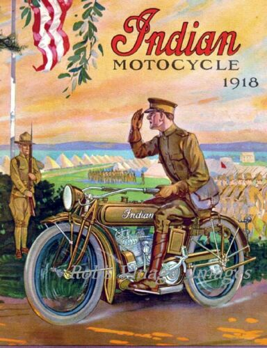 Indian Motorcycle Vintage Advertising Antique Ad Poster 1918  8 X 10 World War 1