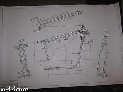 HARLEY DAVIDSON Sportster FRAME drawing COMBO Blueprints poster print 900 1000