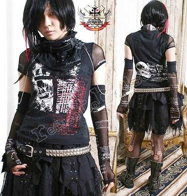 Visual Kei/Jrock/Punk/Gothic/Goth Top+Glove+Wrap SM $54