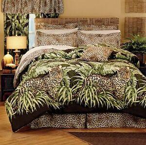Amazon wild leopard cat jungle animal print comforter set twin full queen ebay - Cheetah print queen comforter set ...