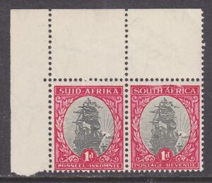 South-Africa-Sc-48-MLH-1934-1p-Drommedaris-Sheet-Corner-Pair-Damaged-Frameline