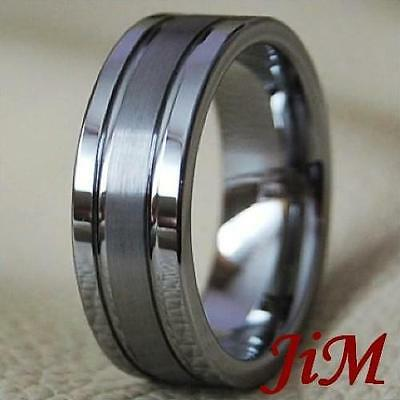 Mens Tungsten Ring Brushed Wedding Band Jewelry Titanium Color Sz 6-15