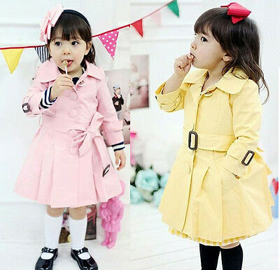 New Kids Clothing Sweet Girls Pure Color Princess Coats Outerwear Sz2-7Years