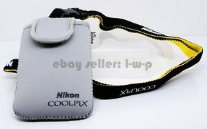 Nikon-Gray-Protection-Bag-Coolpix-S6300-S6200-S4100-S6100-Padded-Neck-Strap-NEW