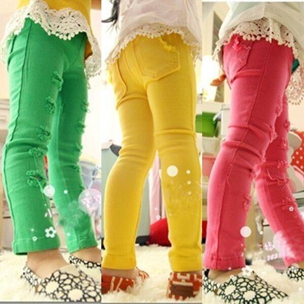 New Kids Holes Slender Candy Colors 100% Cotton Trousers Pencil Pants 3-8 Y P027