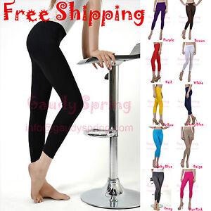 Soft-Stretch-Seamless-Under-Knee-Footless-Capri-Leggings-Multiple-Colors
