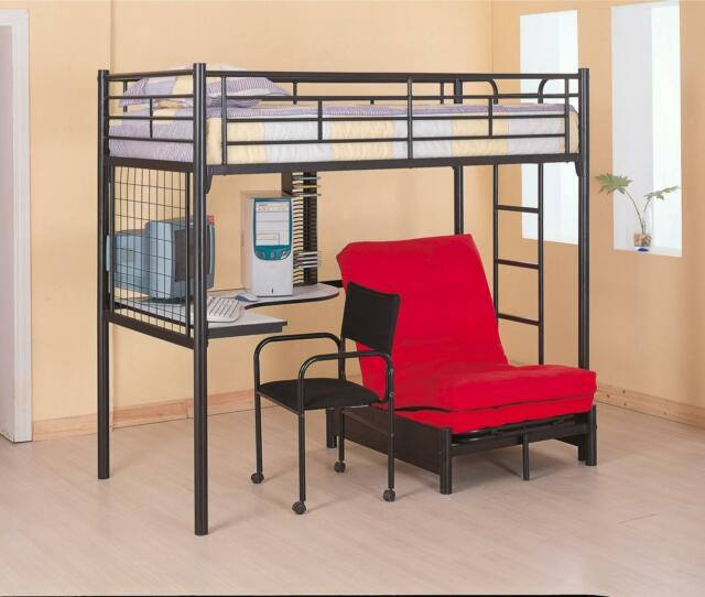 Twin Workstation Loft Bed Bunk Bed with Futon and Desk Bunkbed - FREE SHIPPING