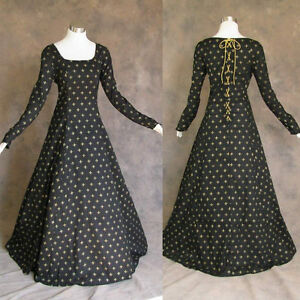 Medieval-Renaissance-Gown-Black-Gold-Dress-Costume-LOTR-Wedding-4X