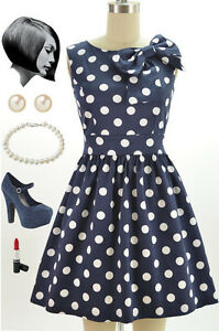 50s-Style-NAVY-amp-White-POLKA-DOT-Pinup-Dress-with-BOW-Neckline-Detail
