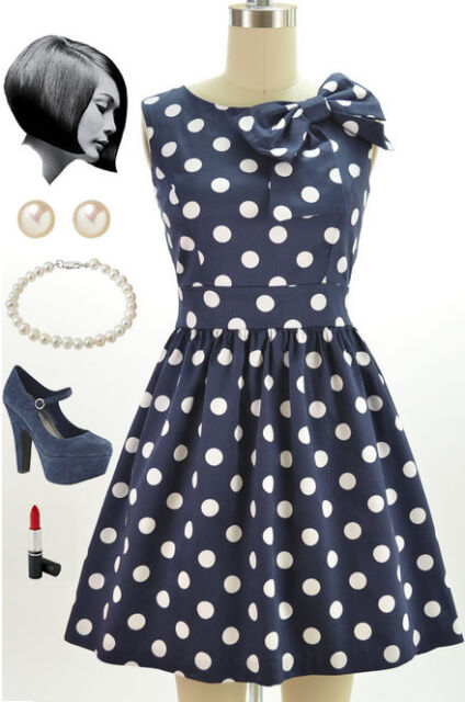 50s Style NAVY & White POLKA DOT Pinup Dress with BOW Neckline Detail