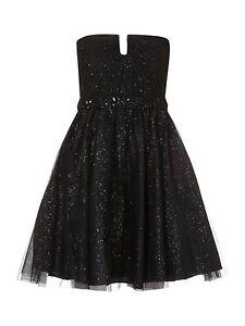 JS-Boutique-RRP-160-Designer-Black-Glitter-Net-Prom-Party-Cocktail-Dress-BNWT