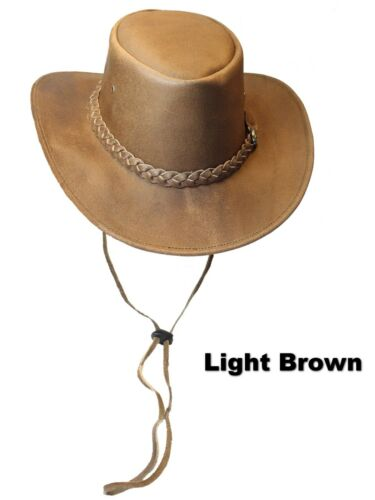 Leather Hide Australian Outback Bush Wide Soft Brim Hat With Chin Strap