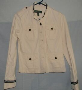 white lauren ralph lauren classic naval military jacket. Black Bedroom Furniture Sets. Home Design Ideas